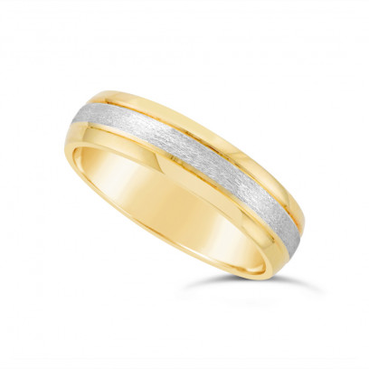 5.3mm Gents 9ct Yellow Gold Heavy Weight Court Shape Wedding Ring With A 2mm 9ct White Gold Brushed Centre Band With A V Groove On Each Side Of The White Gold
